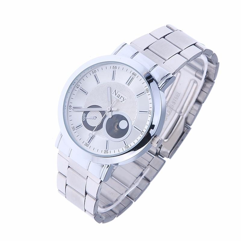 Luxury Brand NARY Полный Серебро Нержавеющая Сталь Пара Кварцевые Наручные часы Водонепроницаемые Ретро Мужской Деловой Часы женские Подарок