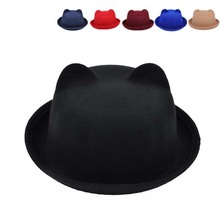 Unisex Cute Cat Ears Top Cap Women Men Fashion Vintage Jazz Bowler Felt Fedora Hat Spring Autumn Cylinder Wool Caps Bonnet M0647(China (Mainland))