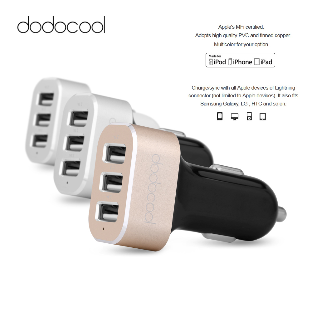 2016 New Dodocool Micro USB Car Charger Mobile Phone Chargers MFi Apple Certified 3-Port IC USB Car Charger for iPhone Samsung(China (Mainland))
