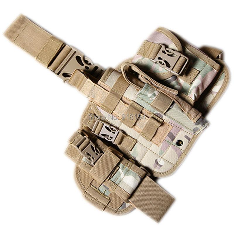 OneTigris Tactical Pistol Holster MOLLE Drop Leg Pistol Gun Holster Rig with Debris Pouch Mag Holder