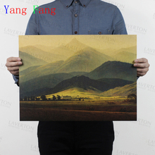 """""""Giant Mountain"""" Vintage poster Masterpiece World famous Oil Painting adornment retro posters, wall stickers LOSICOE 51*35CM(China (Mainland))"""