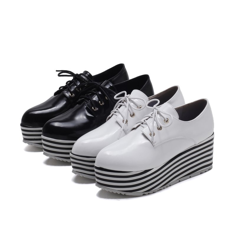 New arrival lace up genuine leather flat platform Striped design fashion casual shoes round toe Thick bottom women flats