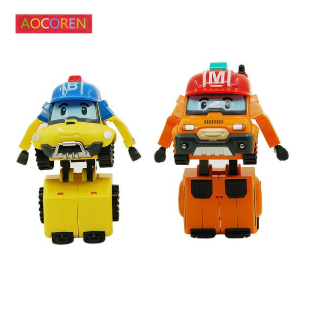 Aocoren Robocar поли Робот Игрушка Корея Robocar Poli Баки Отметить Преобразование Игрушки Аниме Фигурки Детей Игрушки Подарки 2 шт./компл.