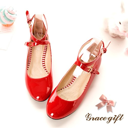 2016 Brand 34-51 Mary Janes T Strap Patent Round toe Women's Shoes Square Heels Platform Shoes Spring Autumn 98-2