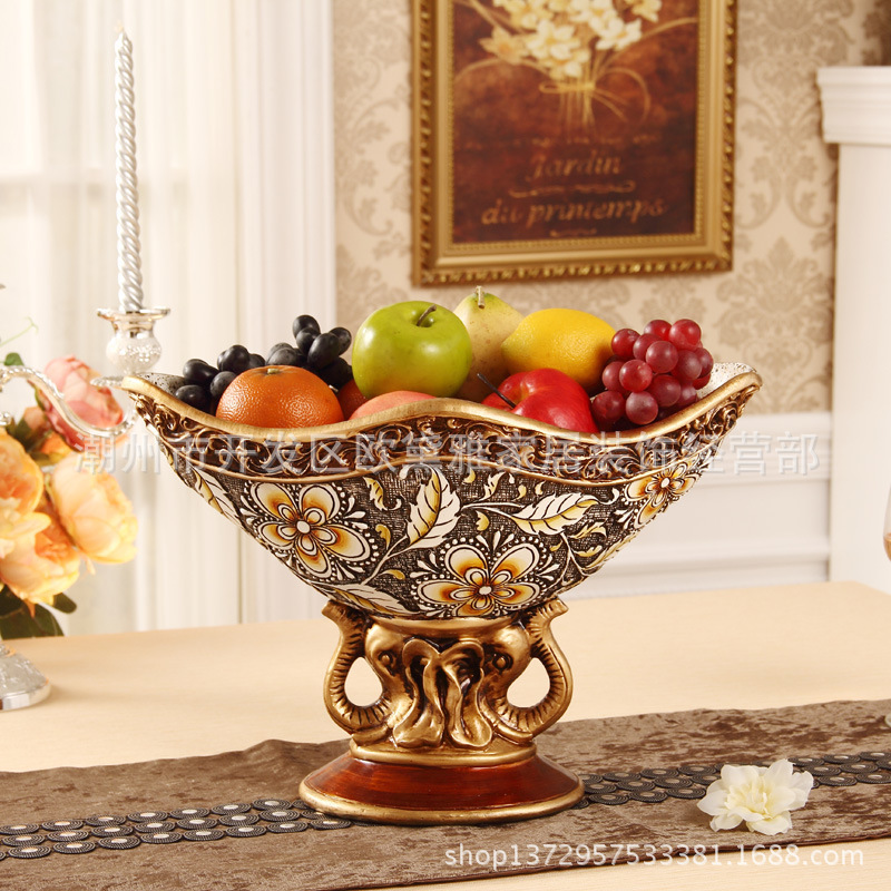 Retro Ornaments Living Room Decorative Fruit Bowl European Resin Ornaments Fruit Plate Fruit