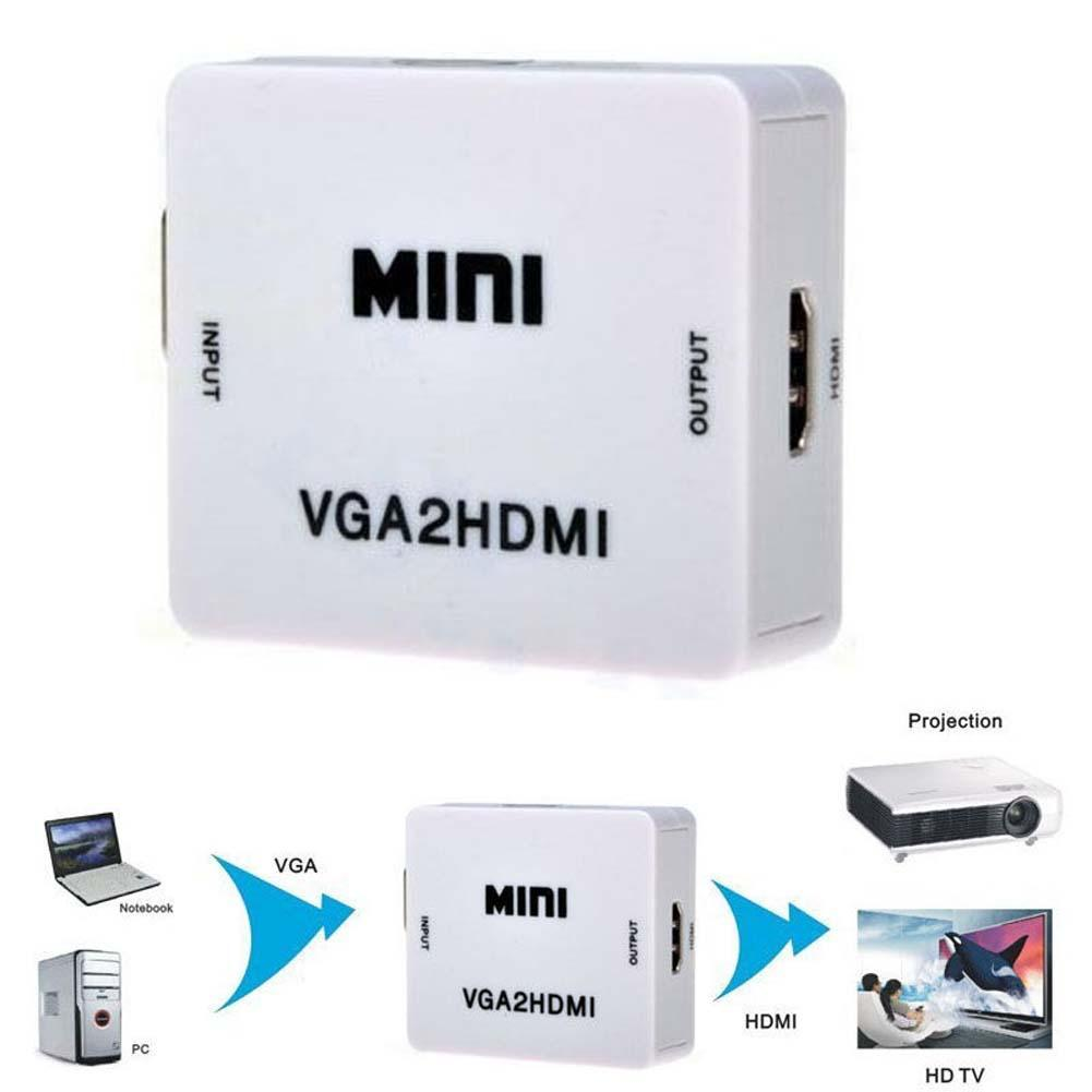 2015 Cute Mini HD 1080P Audio VGA To HDMI HD HDTV Video Converter Box Adapter With HDMI Cable For PC Laptop to HDTV Projector(China (Mainland))