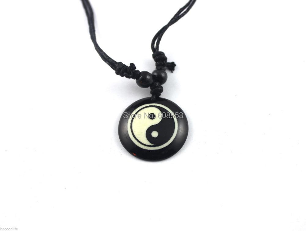 12pcs Black Wax Cord Resin Yin Ying Yang Pendant Necklace(China (Mainland))