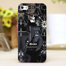 Broken rupture damaged Design Customized transparent case cover cell mobile phone cases for iphone 4 4s 5 5c 5s hard shell