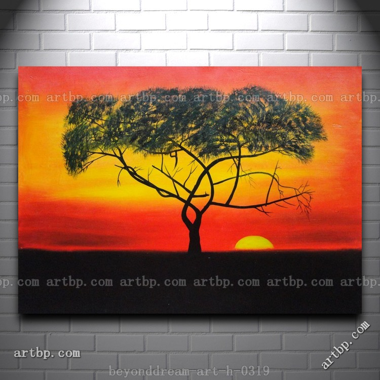 Simple Sunset Painting Tree