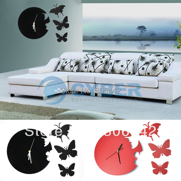 Cheap New Black/Red Art Design Modern Style Time Large Home Decor Butterfly Wall Clock 5361(China (Mainland))