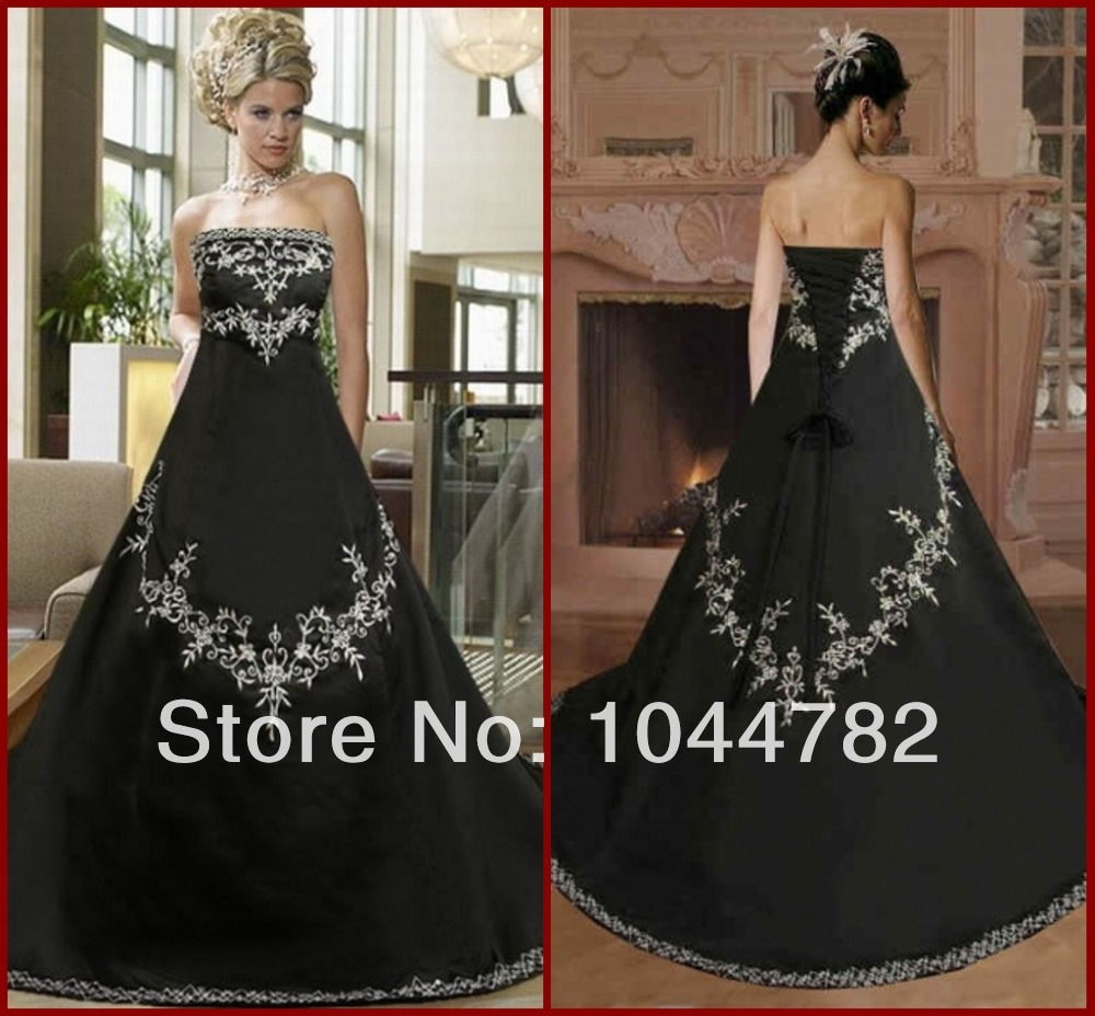 2014 Sexy Embroidery Corset Black Wedding Dress A Line