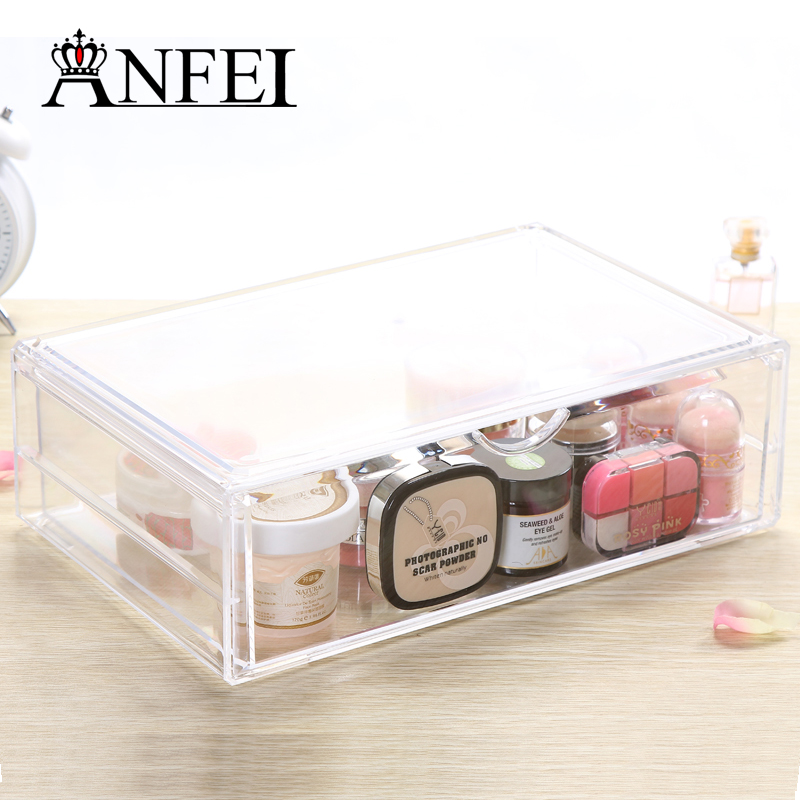 New Fashion High-end Clear Acrylic Cosmetic Box Lipstick Holder Jewelry Cosmetic Box Cotton Swab Case Makeup Brushes Display(China (Mainland))