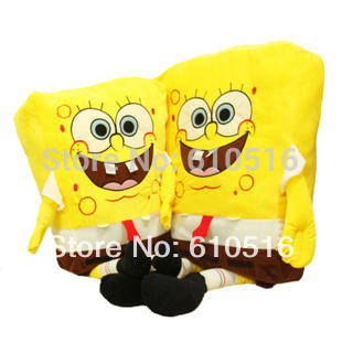 sponge bob 50cm spongebob plush toy soft anime cosplay doll for kids toys cartoon figure cushion home decoration squarepants(China (Mainland))