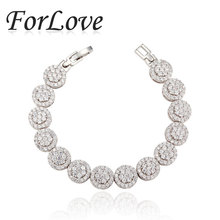 ForLove Two Gifts Real Sterling Silver CZ Diamond AAA Zircon bracelets bangles for women jewelry 2014 new S810(China (Mainland))