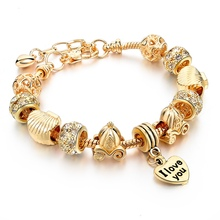 Luxury Jewelry European Heart Charm Bracelet Gold DIY Beads Women Bracelets Bangles Pulsera SBR150082(China (Mainland))