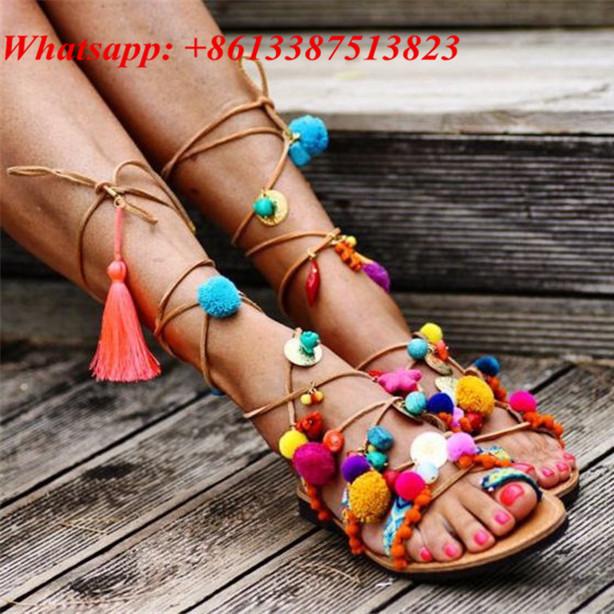 Фотография New Sapato Feminino Colorful Pom Pom Fringe Strappy Braided Summer Chaussure Femme Tassel Thong Lace Up Flat Sandals Women Shoes