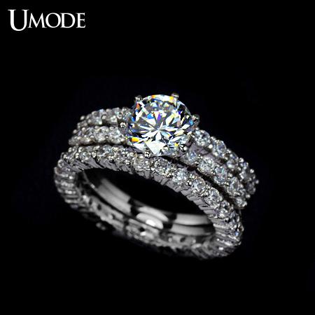 UMODE Best Quality 75mm 175ct Cubic Zirconia Simulated Diamond Three Band Wedding Ring UR0002