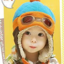 Boys Girls Baby Pilot Aviator Hat Winter Cotton Warm Ear Cap Beanie 4 Colors(China (Mainland))