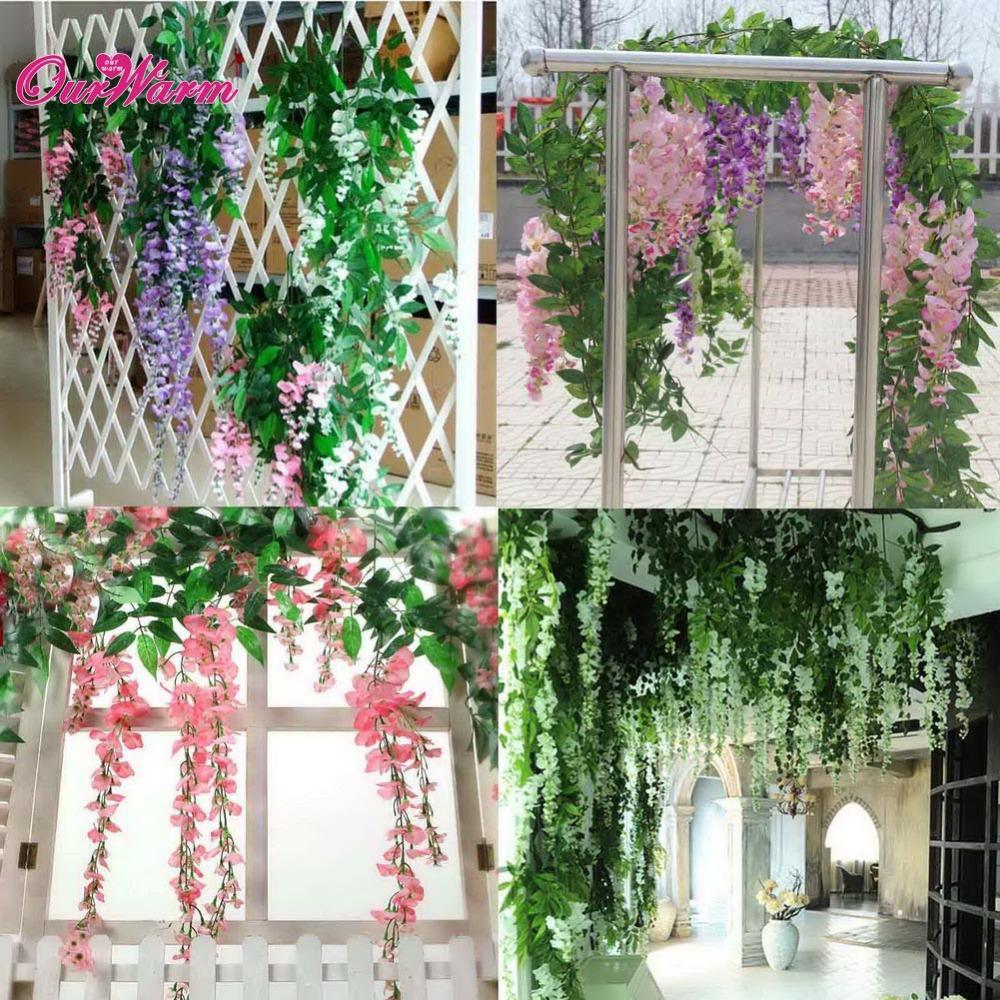 buy 24pcs artificial plants wedding home hanging flowers artificial silk. Black Bedroom Furniture Sets. Home Design Ideas