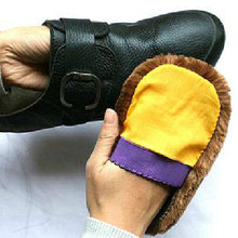 5 X Soft Wool Polishing Shoes Clean Cleaning Gloves Shoe Care Brush Home#33521(China (Mainland))