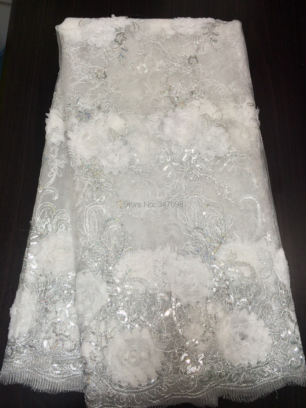 Free shipping white french net lace fabric african for White lace fabric for wedding dresses