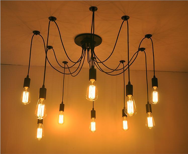 Edison Design Pendant Light Edison Vintage Spider Chandelier pedant Lamp, Edison Chandeliers American Style Led Bulbs