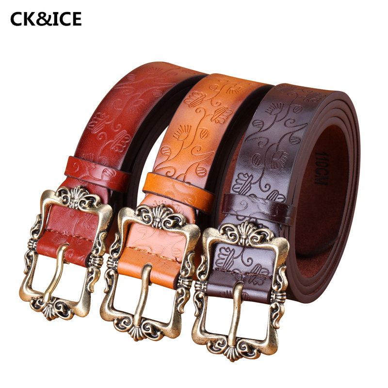 Hot 2017 Female Belts Luxury PU Leather Belt Buckle Women Fashion All-Match Embossed Pin Buckle Ladies Leather Belt 110-115CM(China (Mainland))