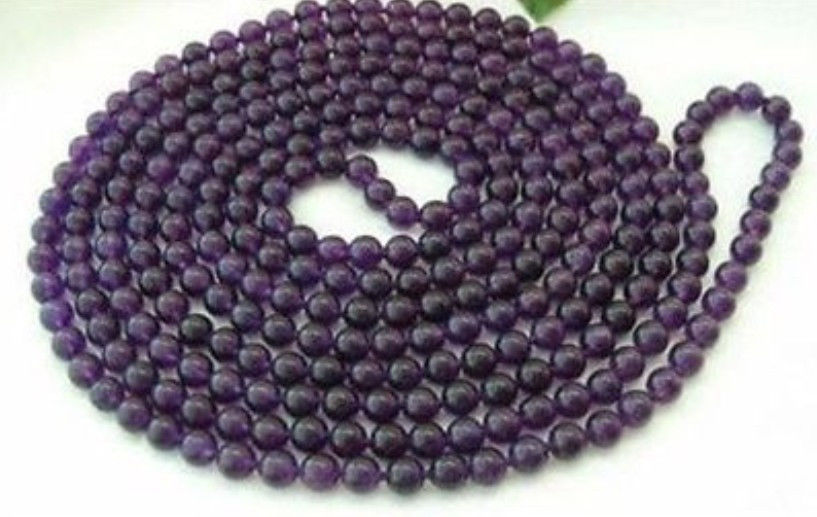 (Min Order1) 8mm Russican Amethyst Round Bead Jasper Necklace For Women Fashion Jewelry Making Design Natural Stone 50inch(China (Mainland))