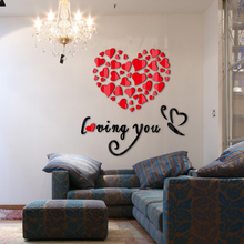 Buy hot sale 2017 wall stickers acrylic mirror diy sticker home decoration love 3d sticker living room modern design for $9.84 in AliExpress store