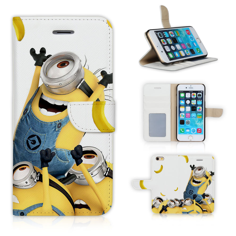 BTD Cellphone Flip Leather Sleeve Cover Case Skinfor iphone 6 6S Banana and Minions Free Screen Film P034-6G(China (Mainland))