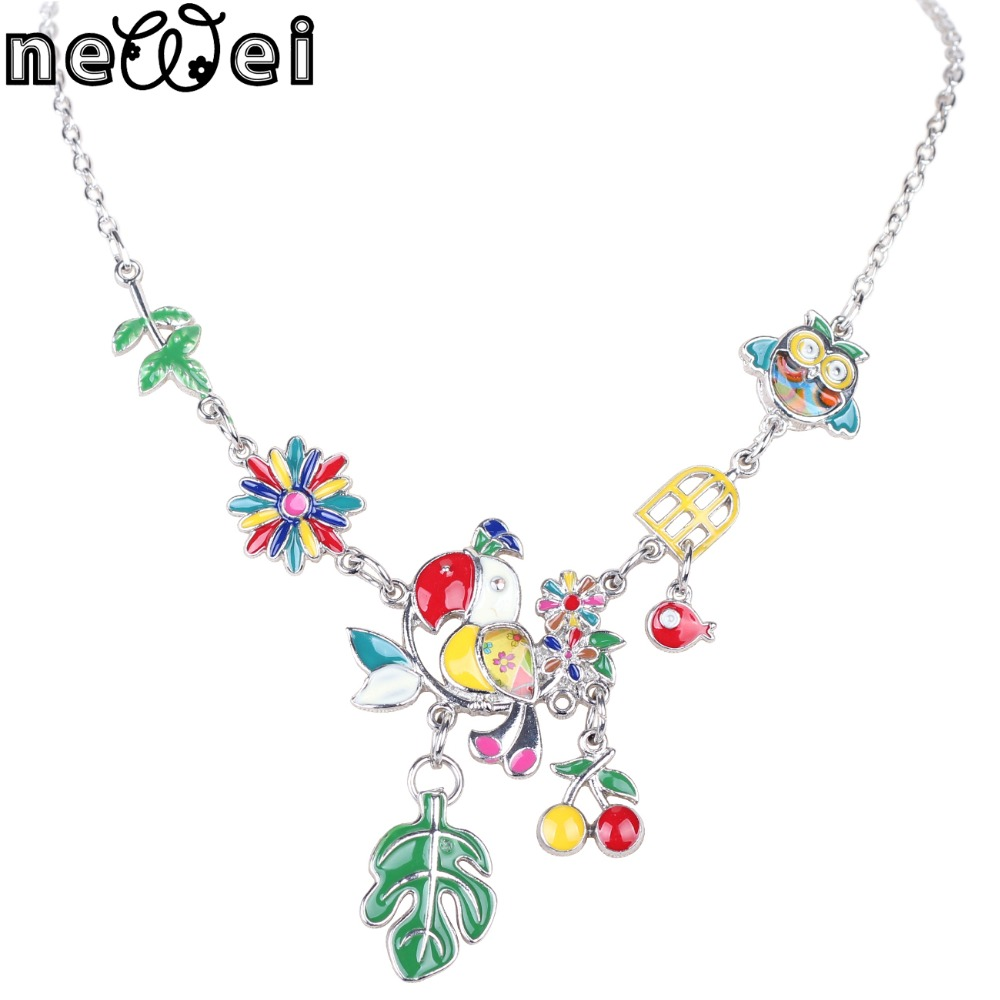 Newei Statement Necklace Enamel Bird Alloy Plating White K Long Chain Pendant 2016 New Jewelry For Women Collares Accessories<br><br>Aliexpress