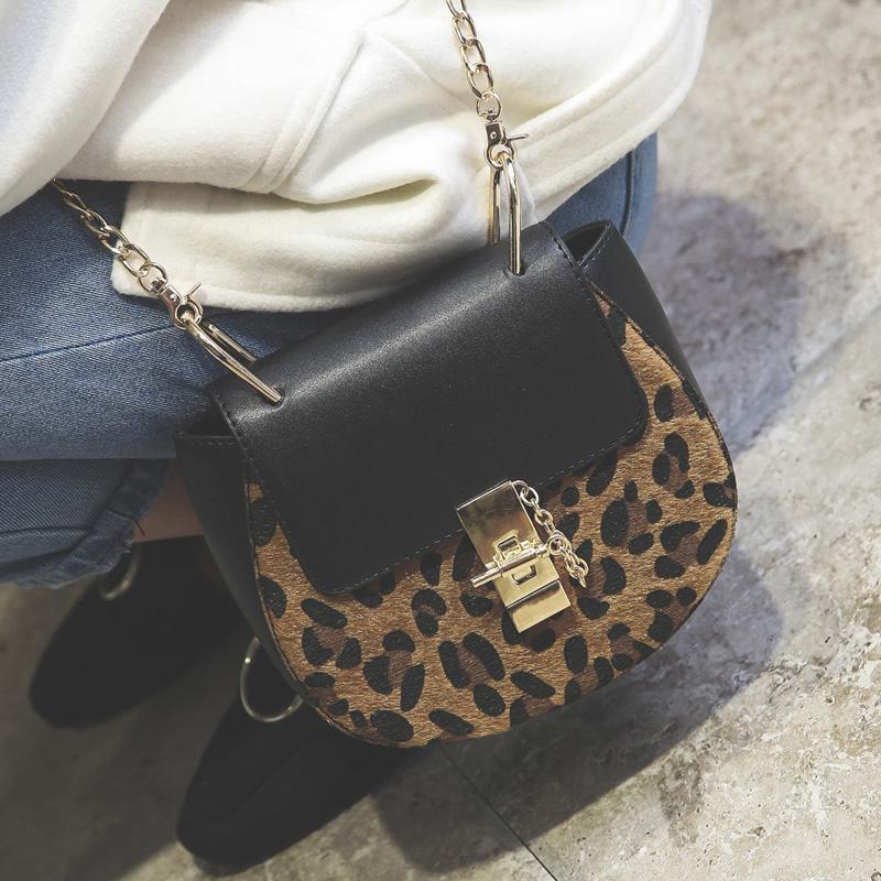 leopard bag chain saddle bag chain shoulder bags female small handbag Celebrity fashion style crossbody sac women leather bolsas(China (Mainland))