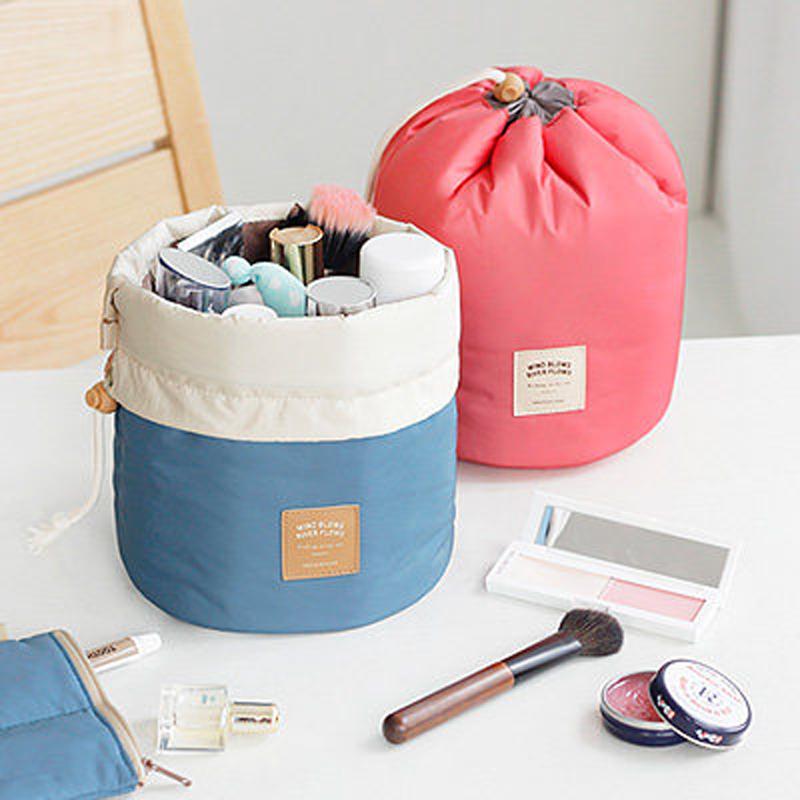 Newest Barrel Shaped Travel Cosmetic Bag Nylon Drawstring Elegant Drum Wash Bags Makeup Organizer Travel Cosmetics Bags Women(China (Mainland))