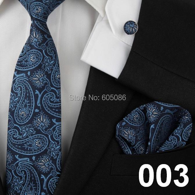 neck tie set for men handkerchief pocket square cufflinks silk ties(China (Mainland))