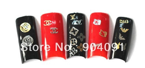 Wholesale 20pot/bag.150pcs per pot,Butterfly Gold & Silver Metal Flake Shape Stickers for Nail Art Decoration-Free Shipping(China (Mainland))