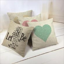 Heart Printed Linen Cotton Sofa Pillow Throw Cushion