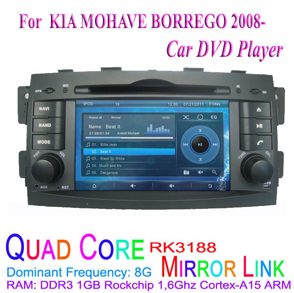 1024*600 Quad Core Android 4.4.4 Fit KIA MOHAVE BORREGO 2008 2009 2010 2011 2012 2013 2014 2015 Car DVD Player GPS 3G Radio(China (Mainland))
