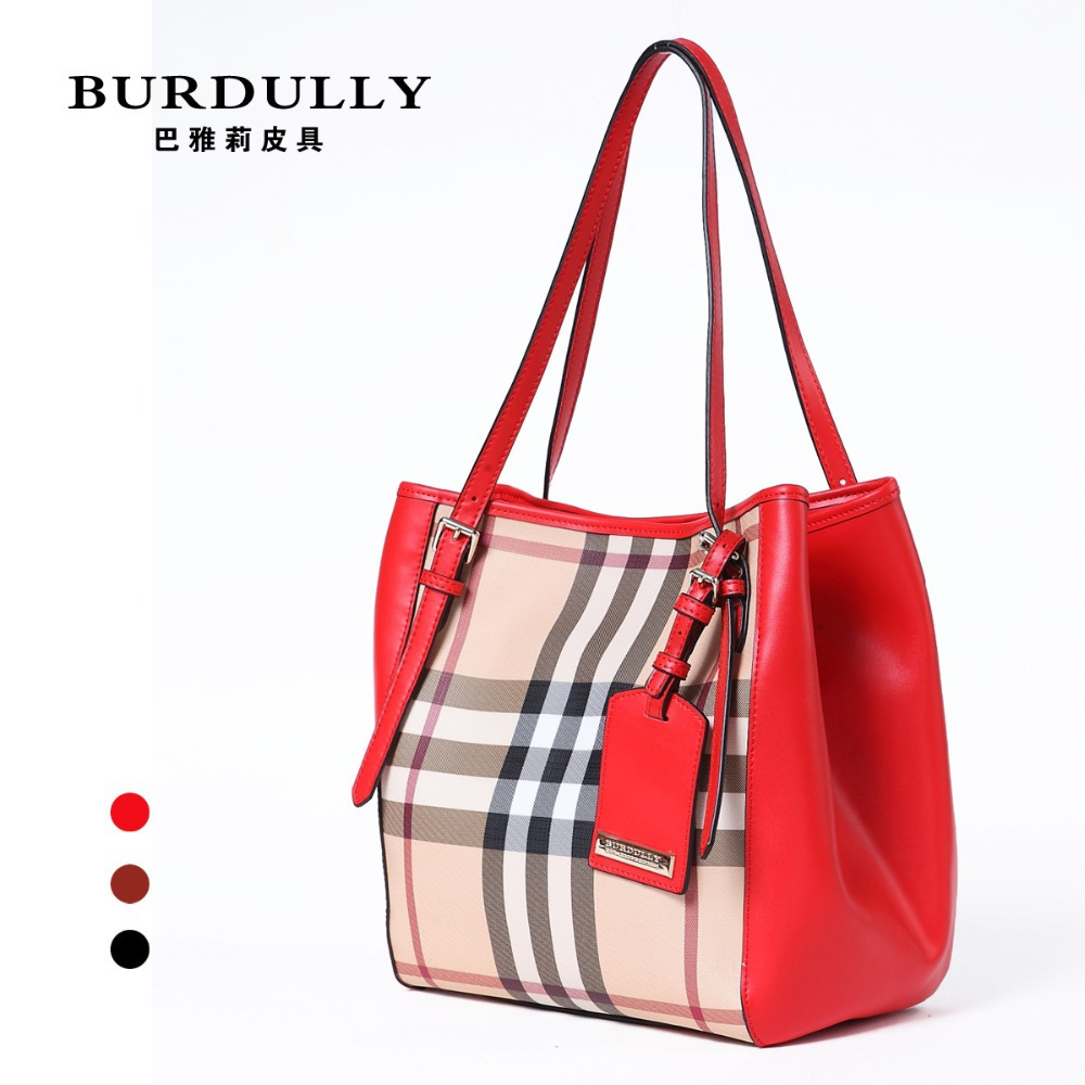 Winter Women Bolas Genuine Leather Tote Bag European B Brand Classical Plaid shoulder YL001 - Luxury Discount store