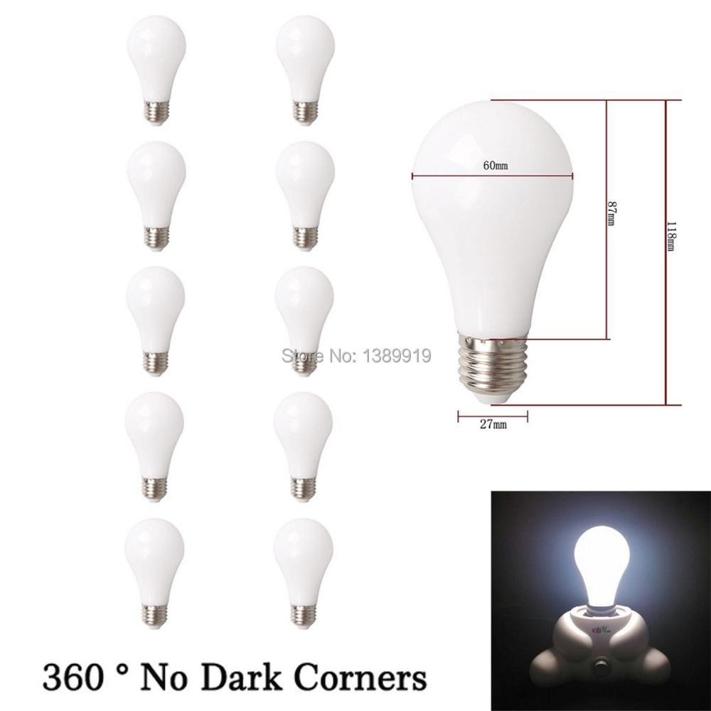 Wholesale 10pcs 10W E26 E27 80% Energy Saving LED Bulb Lamp Bright White Light 6500K= 100W Incandescent Lamp AC85V-260V(China (Mainland))