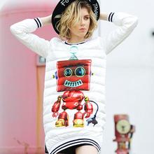 2015 winter personalized robot down coat fashion medium-long white outerwear down dress , new design one pcs down dress