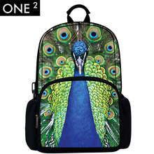 18inch 3D Animal Bag Children Custom Backpack Peacock Design Print Fashion School Bag Kids Girls Age 7-13 Mochila free shipping(China (Mainland))