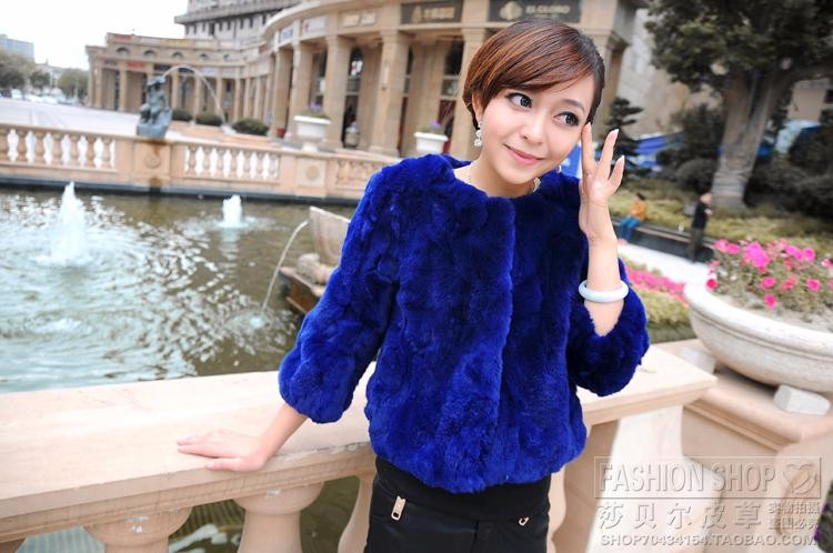 Hot-selling 2014 rex rabbit hair fur coat short design o-neck slim