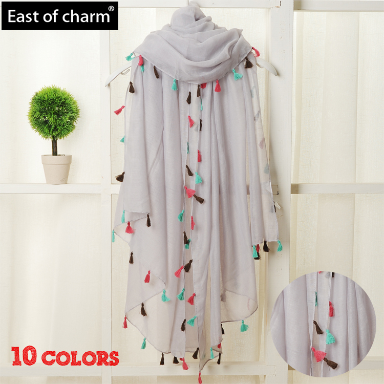 Beach Fashion 2015 New Spring Summer Pure Color Voile Scarf Women Tassel Scarf Wrap Shawl and Scarf For Women cachecol feminino(China (Mainland))