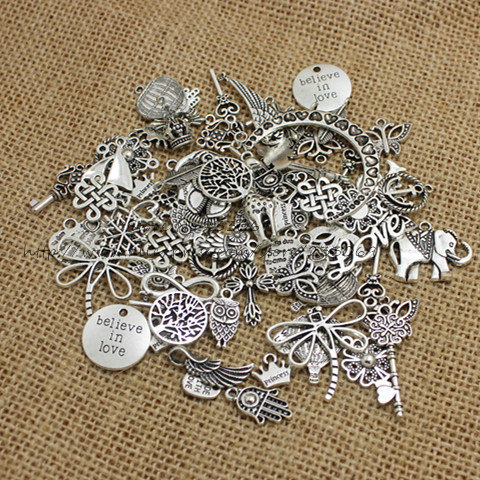 100pcs/lot Mixed Antique Silver Plated European Bracelets Charm Pendants Fashion Jewelry Making Findings DIY Charms Handmade 345(China (Mainland))