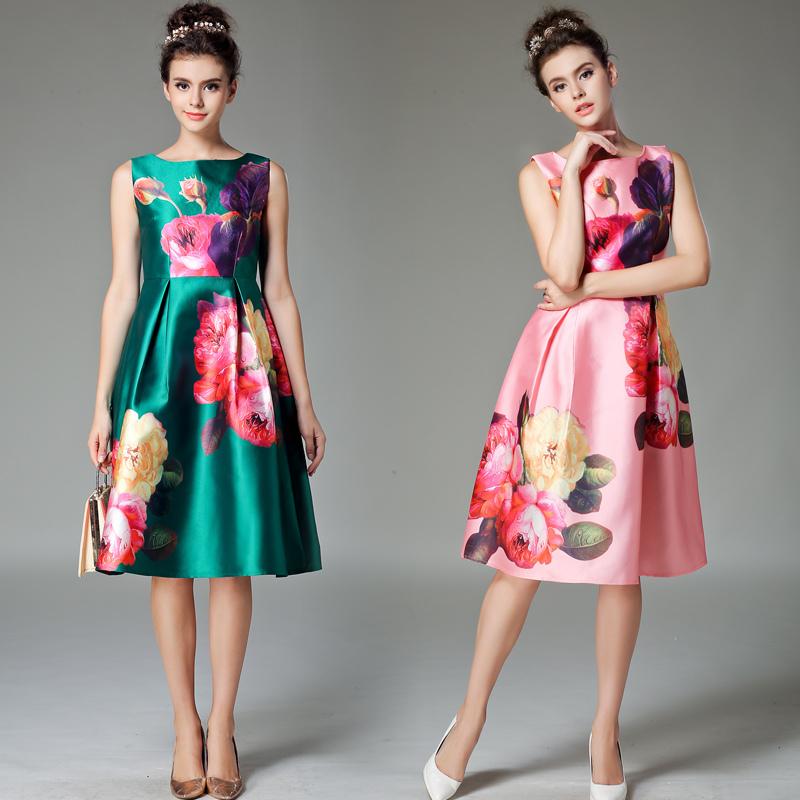 2015 Summer Luxury Runway Designer Dress Women's High Quality Sleeveless Multicolor Cartoon Printed Knee Length Dress 3 colors(China (Mainland))