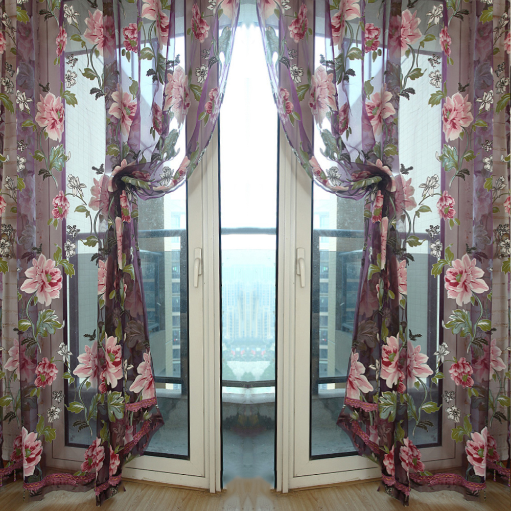 Pattern Sheer Curtain Wall Door Window Balcony Curtain-in Curtains ...