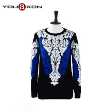 1607 YouAxon Runway Fashion Winter Knitted Baroque Pullovers Vintage Floral Porcelain Printed Tricot Jumper for Women a+ Sweater(China (Mainland))