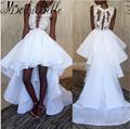 Short Front Long Back Elegant Prom Dresses Long Vestidos Largos De Noche Appliques White High Low