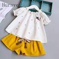 Hurave Summer Style Children Baby Clothing Sets Kids Girl Floral Clothes Embroidery T shirt Short with