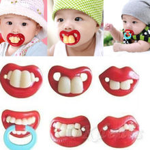 6 style Hot Funny Dummy Dummies Pacifier Novelty Teeth Moustache Baby Chile Soother Nipple(China (Mainland))